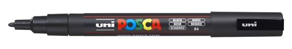 Uni Posca Paint Marker Fine, 0.9 - 1.3mm Bullet Tip - PC - 3M, Black DAMPFB